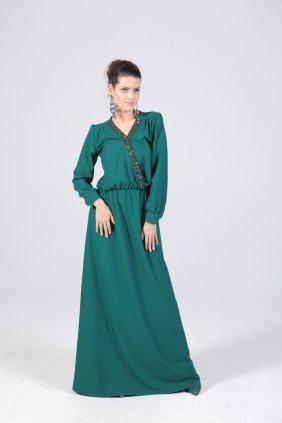 Petrol Yeşili Yay Elbise