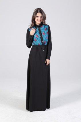 Turkuaz Patchwork Elbise