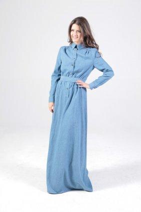 Mavi Kot Gömlek Elbise
