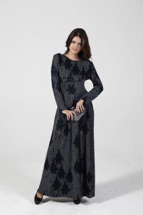 Gri- Lacivert Kübo Elbise
