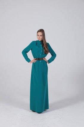 Petrol Mavi Gömlek Elbise