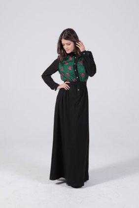 Yeşil Çiçekli Patchwork Elbise