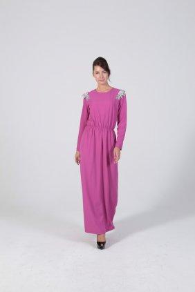 Omuz Detaylı Pembe Keyti Elbise