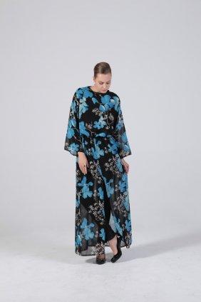 Mavi Çiçekli Tunik Elbise