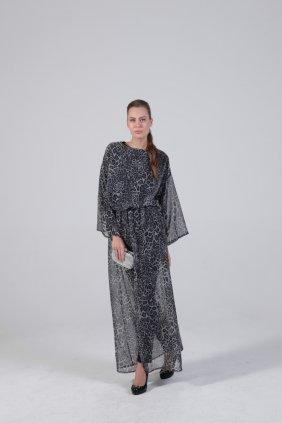 Gri Leopar Tunik Elbise