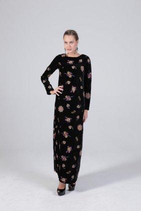 Kadife İşlemeli Kalem Elbise