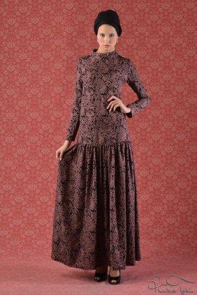Pudra Çiçekli Trompet Elbise