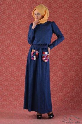 Cep Detaylı Lacivert Kot Keyti Elbise