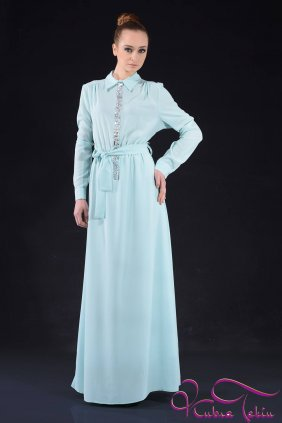 Nil Yeşili Taşlı Gömlek Elbise