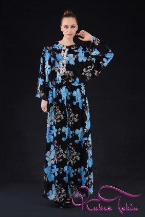 Mavi Çiçekli Keyif Elbise