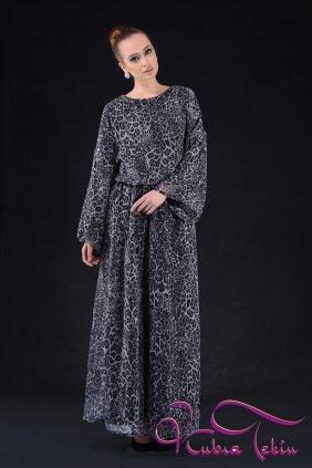 Gri Leopar Keyif Elbise