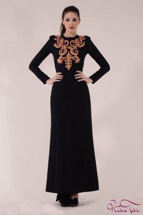 Angelina Altın İşlemeli S Elbise