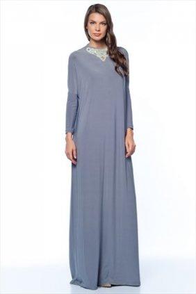 Sindy Gri Yakalı Elbise