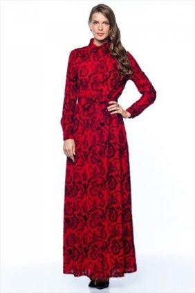 Kırmızı Flok Gömlek Elbise