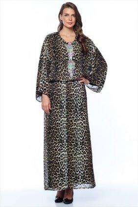 Leopar Aksesuarlı Keyif Elbise