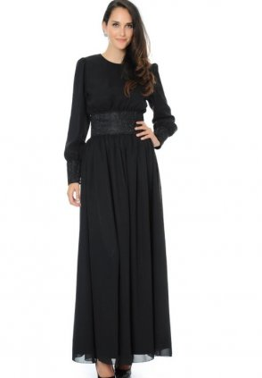 Siyah Taşlı Elbise