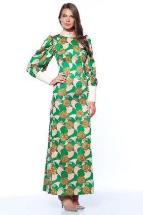 Yeşil-Pudra İpek Elbise