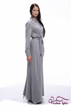 Gri Penye Gömlek Elbise