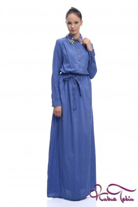 Mavi Puantiyeli Gömlek Elbise