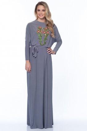 Sindy Çiçekli Gri Elbise