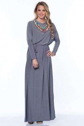 Sindy Renkli Yaka Detaylı Gri Elbise