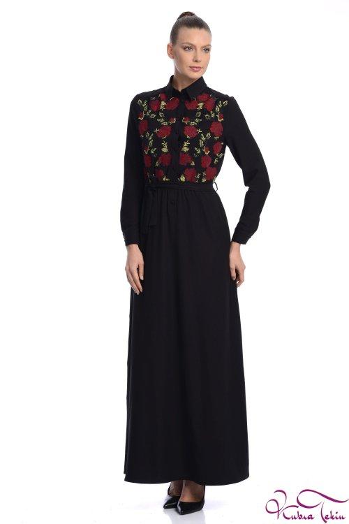 Penelope Siyah Nakışlı  Elbise