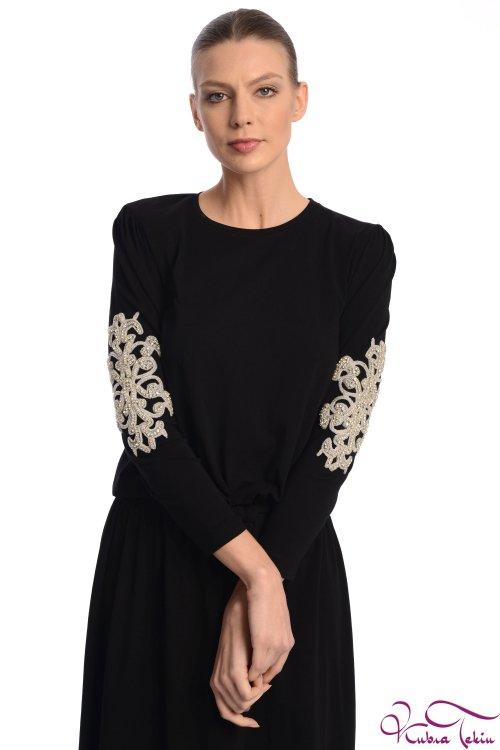 Olivia Kol Detaylı Siyah Elbise