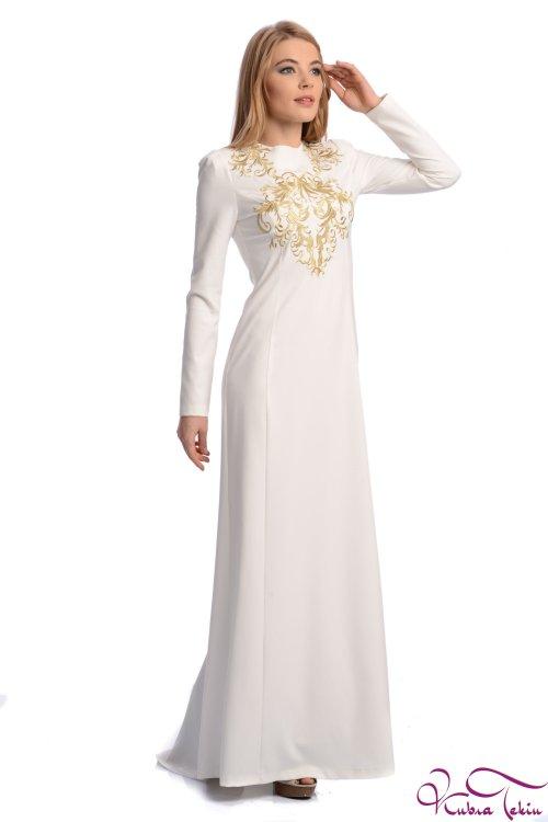 Angelina Altın Nakışlı Beyaz Elbise