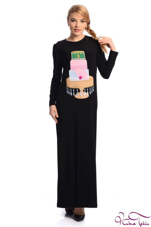 Kupraa Pasta Nakışlı Siyah Elbise