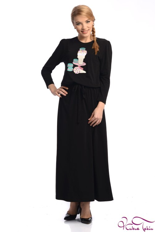 Olivia Siyah Dondurma Nakışlı Elbise