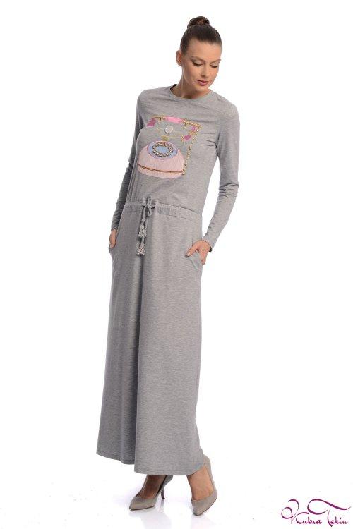 Milka Telefon Nakışlı Gri Elbise