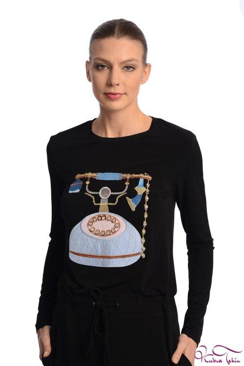 Milka Telefon Nakışlı Siyah Elbise