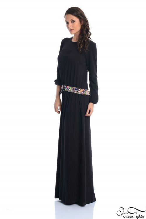 İstanbul Siyah Bel Detaylı Elbise