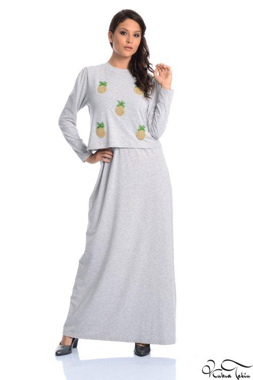 Amorita Gri Ananas Elbise