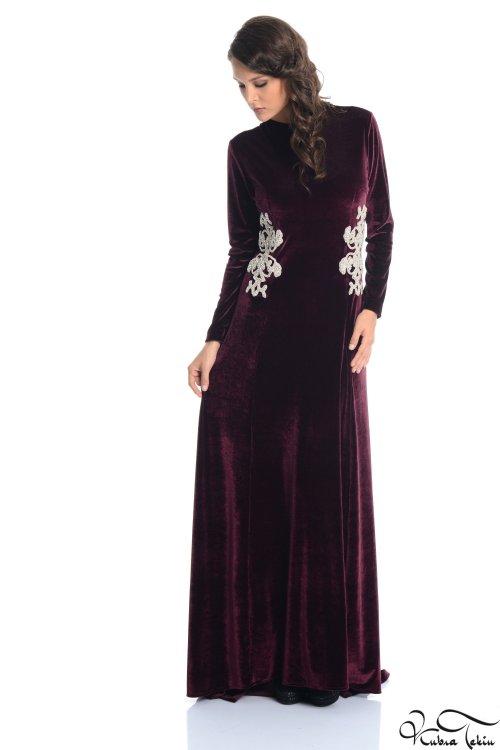 Kuğu Bordo Kadife Elbise
