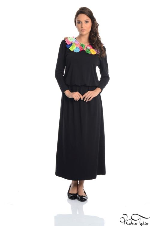 Olivia Yaka Detaylı Siyah Elbise