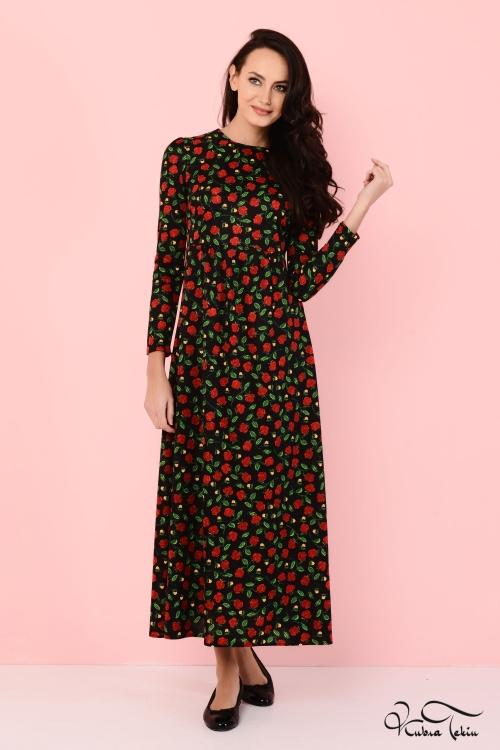 Alina Floral Siyah Elbise