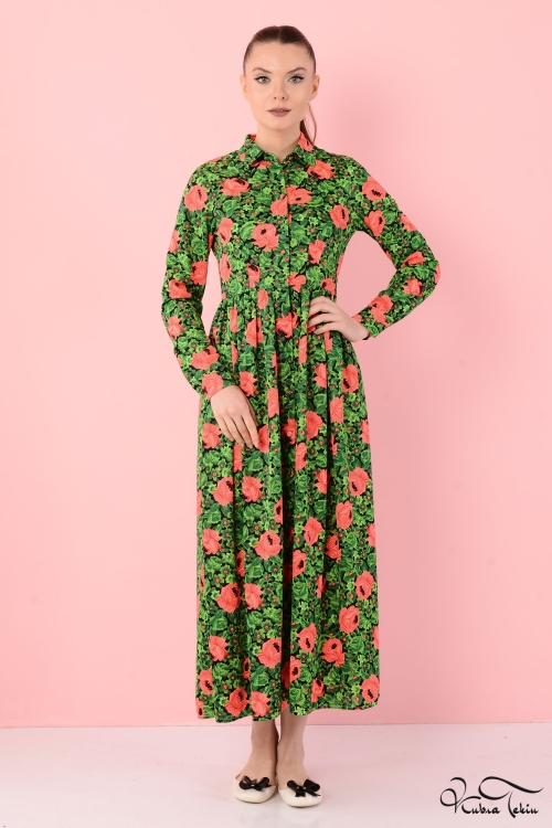 Laura Yeşil Patchwork Elbise