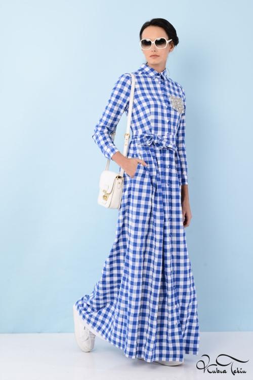 Özge Mavi Cepli Elbise