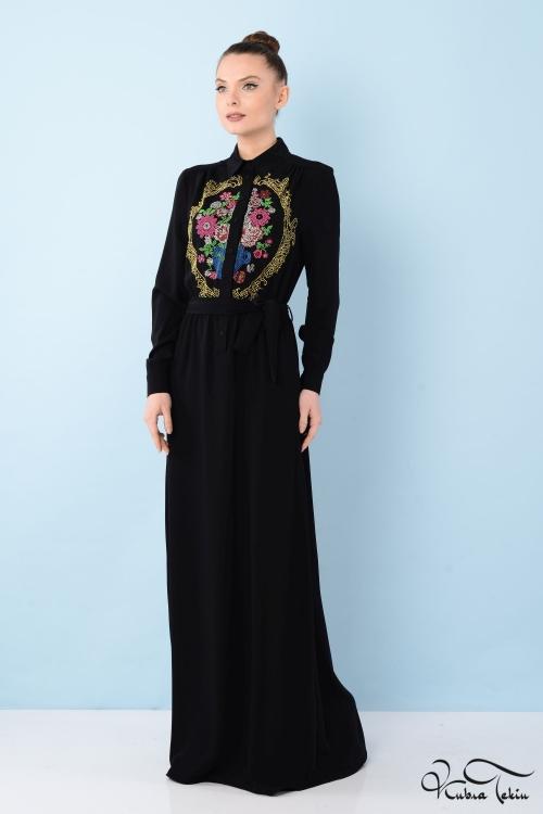 Penelope Rönesans 3 boyutlu Siyah Elbise