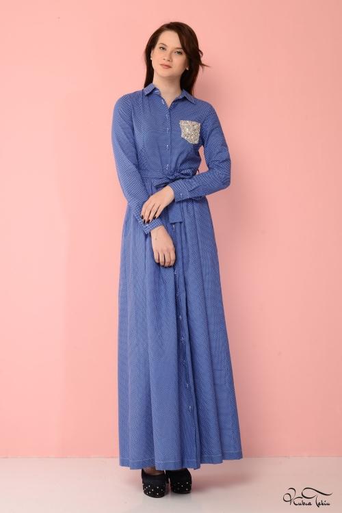 Özge Mavi Puantiyeli Elbise