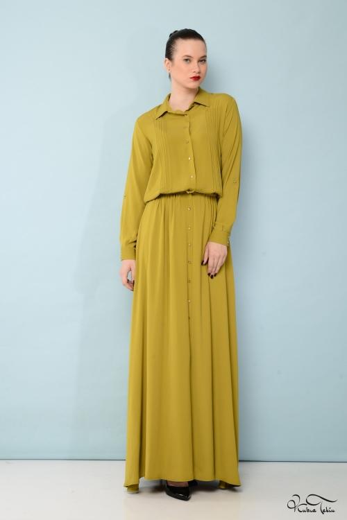 Fıstık Yeşili Gömlek Elbise