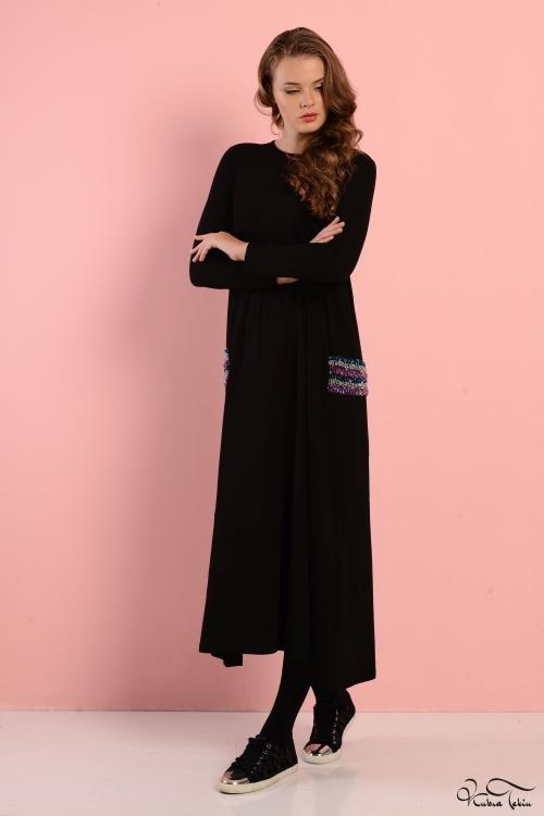 Sindy Siyah Cepli Penye Elbise