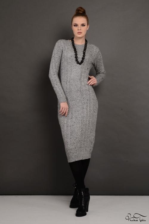Gri Yün Elbise