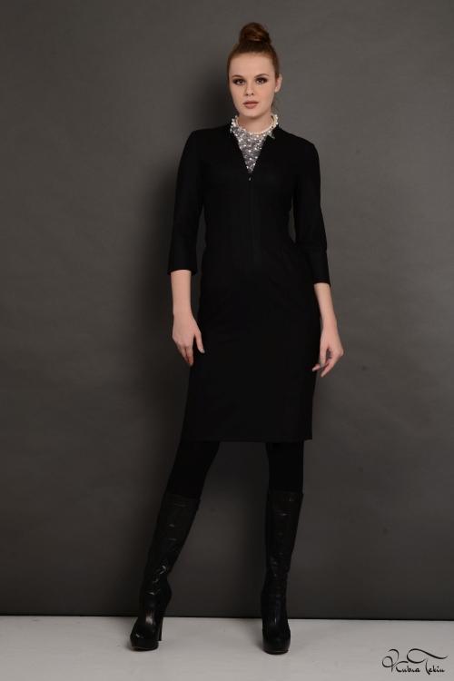 Amanda Siyah Midi Elbise