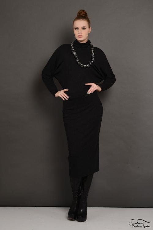 Füme Boğazlı Elbise