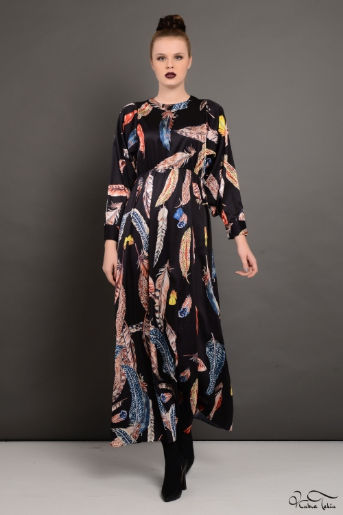 Siyah Desenli İpek Elbise