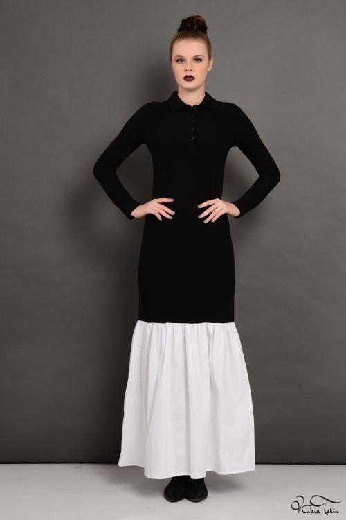 Roos Siyah Fırfırlı Elbise