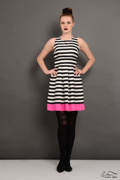 Pembe Çizgili Mini Elbise