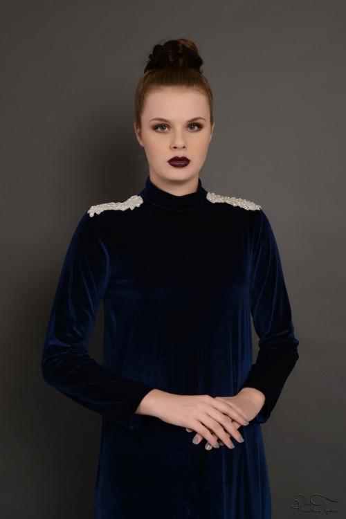 Lacivert Apoletli Kadife Elbise